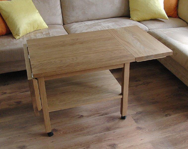 Litet Koksbord Med Klaff : Litet ekbord med tvo klaffar och hjul